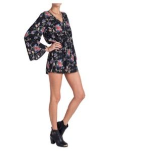 Other - Black Coral Blue Floral Long Sleeved Romper