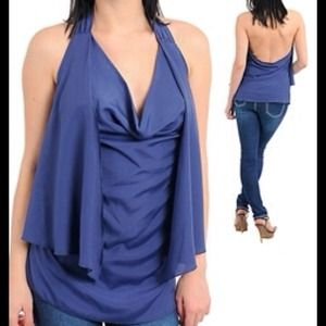BLUE HALTER BLOUSE