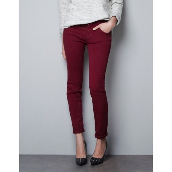 Zara Denim - Zara burgundy jeans