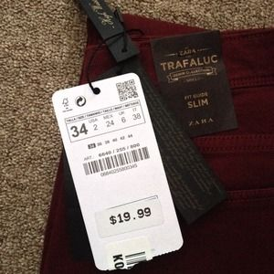 Zara Jeans - Zara burgundy jeans