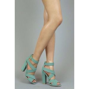 Shoes - NEW Mint Strappy Chunky Heels