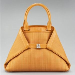 Akris Saffron Small Horsehair Ai Bag Leather trim