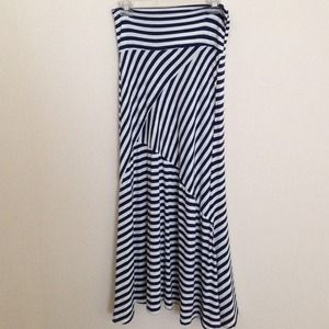 Navy maxi skirt with white stripes – Modern skirts blog for you