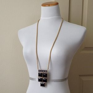 Jewelry - Very Long Necklace w/ Navy Faceted Stones