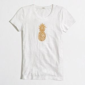 ⚡️ J.CREW METALLIC PINEAPPLE GRAPHIC TEE