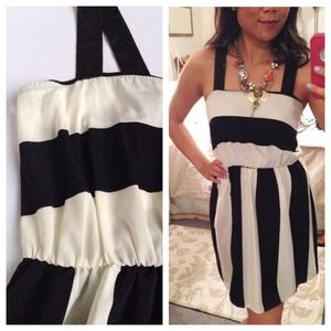 Paris Dreams Black & Ivory Striped Dress