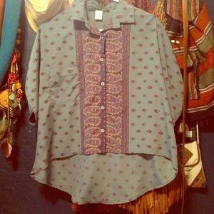 Bohemian chic hi-low polyester blouse