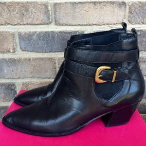 Valerie Stevens  Boots - Valerie Stevens Black Ankle Boots with Buckle