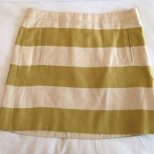 J. Crew Green Striped Skirt