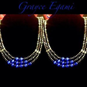 Jewelry - Hematite & Blue Glass Quartz 3-Tier Necklace