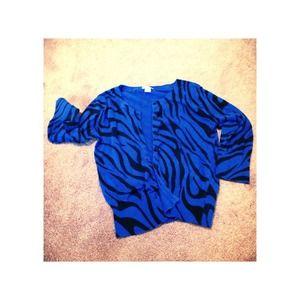 Xhilaration Blue Zebra 3/4 Sleeve Cardigan- Size S