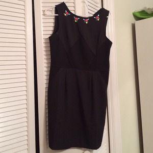 Black dress with stone jewels