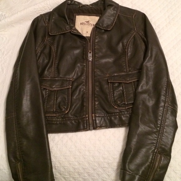hollister leather jacket womens