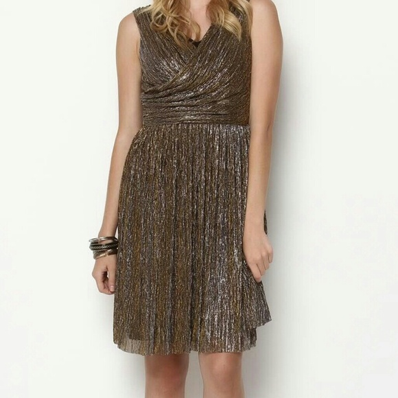 Dresses - J J Metallic Draped Dress