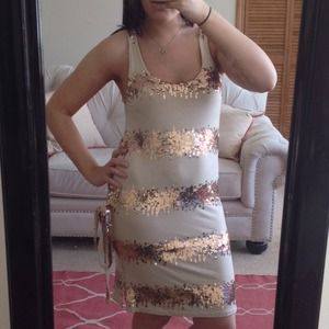 Josh Brody Dresses & Skirts - (NWT) Josh Brody Sequin Beige Dress