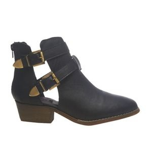 New black leather cut out booties
