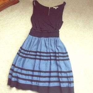 BUNDLEDBlue & Black Stripe Fit and Flare Dress
