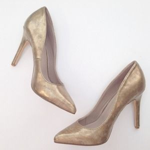 Express Shoes - Metallic Gold Pumps Heels