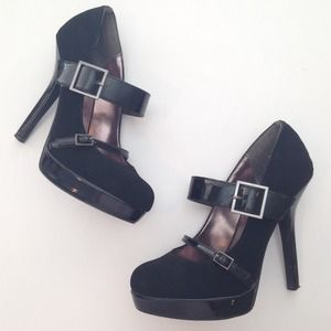 Black Suede Mary Jane Style Pumps