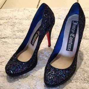 daef4c0415fa Juicy Couture Shoes - Juicy Couture sparkly navy blue heels pumps