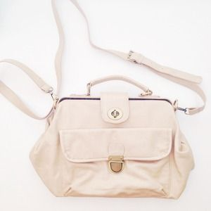 Cream Beige Top Handle Crossbody Handbag