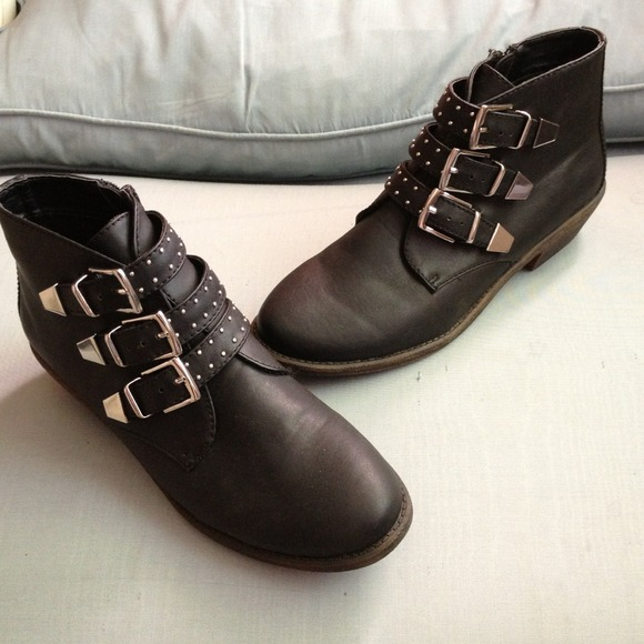 53% off Report Boots - Black Ankle Booties w/Silver Buckles - NEW