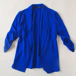 NWT royal blue ruche sleeve blazer