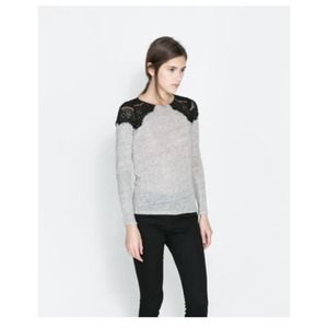 Zara Tops - Zara long sleeve top with lace detail on shoulders