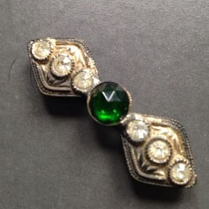 Vintage antique emerald + rhinestone pin