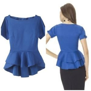 Tops - Cobalt Blue High-Lo Peplum Shirt
