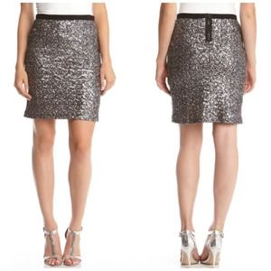 Sequin Skirt | Silver + Grey