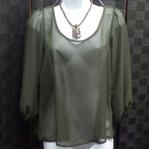 N/A Tops - *Host Pick* Sheer Olive green top