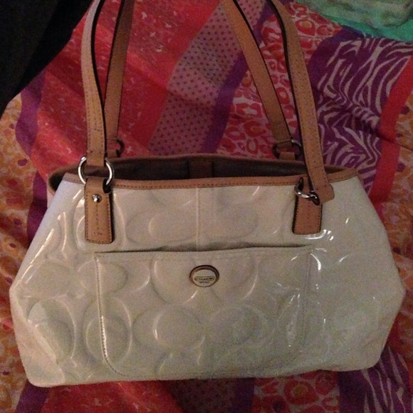73% off Coach Handbags - Coach patent white leather purse from ...