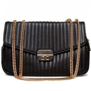 New Black Textural Faux Leather Shoulder Bag