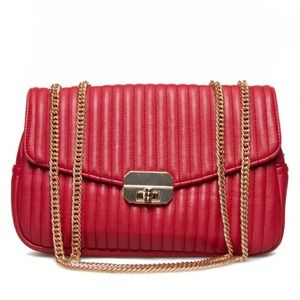 New Red Textural Faux Leather Shoulder Bag