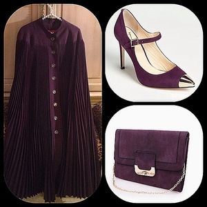 Jackets & Blazers - Chic and stylish eggplant pleated cape arm slits