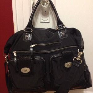 Leather Nylon Weekend Bag - Large Bag