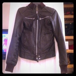 Brown Zara leather jacket