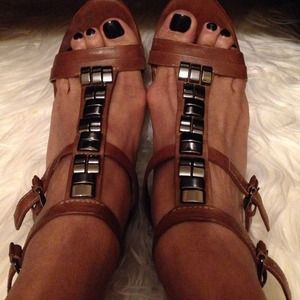 L.A.M.B.Cognac cork heel leather wedge