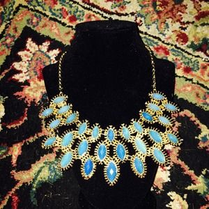 Blue & Gold Statement Piece Necklace NWT!