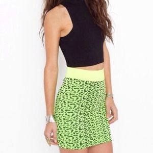 neon yellow/green stretchy skirt from nastygal