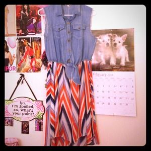 Short Sleeve Jean Orange & Blue Striped Dress
