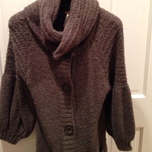 Free People Brown/Olive Green Bubblesleeve Sweater