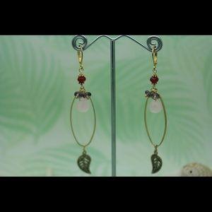 Handmade Rose quartz multi stone earring