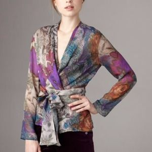 Etro Orchid Floral-Print Wrap Silk Top 40/6 NWT