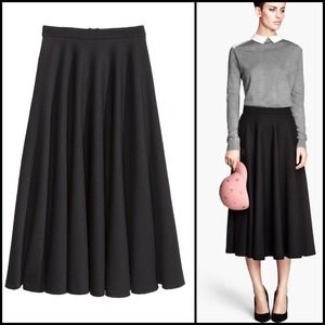 Black bell midi skirt with zipper NWT