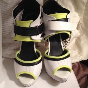 ALDO Shoes - Aldo Neon and White Heels