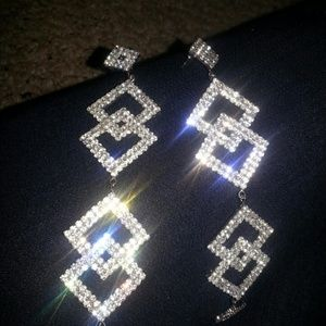 Silver stone earings