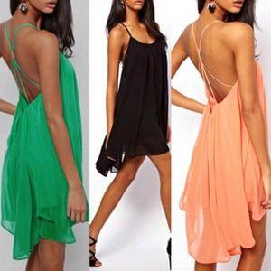 Dresses & Skirts - Halter Backless Chiffon Swing Party Dress