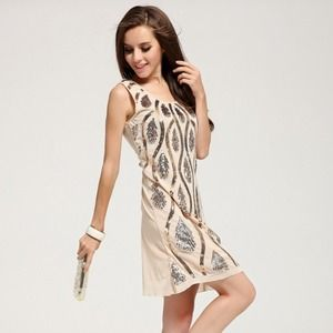 94f0e5ae789ce Dresses   Skirts - Sexy Slim Fit Beige Sequin Embroidered Party Dress